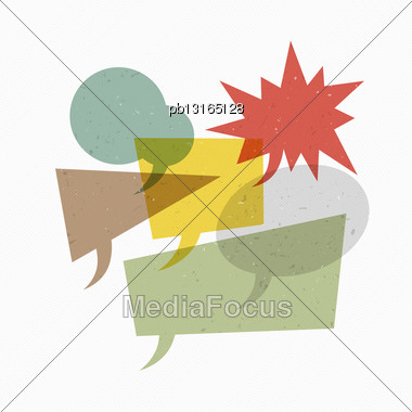 Colorful Textured Retro Speech Bubbles On Diagonal Lines Texture. Vector Illustration, EPS10 Stock Photo