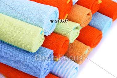 Colorful Towels On White Background. Stock Photo