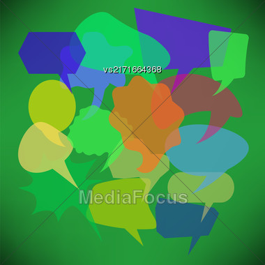 Colorful Transparent Speech Bubbles Isolated On Green Gradient Background Stock Photo