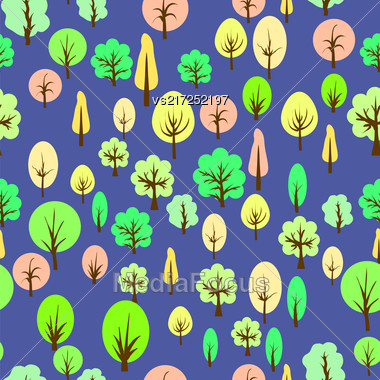 Colorful Tree Seamless Pattern On Blue Background Stock Photo