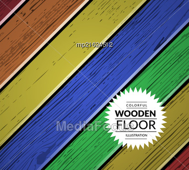 Colorful Vintage Wooden Floor. Vector Background Illustration Stock Photo