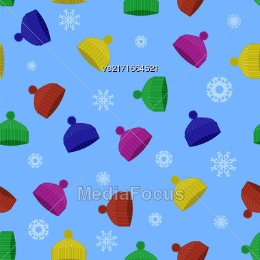 Colorful Winter Knitted Hat Seamless Pattern With Snowflakes On Blue Background Stock Photo