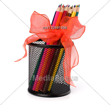 Colour Pencils Isolated On White Background Close Up Stock Photo