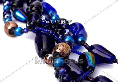 Colourful Beads Background On White Stock Photo