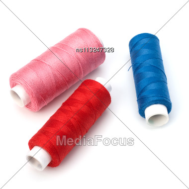 Colourful Spools Of Thread Isolated On White Background Stock Photo