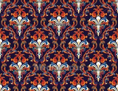 Colourfull Seamless Damask Ornate Pattern Stock Photo