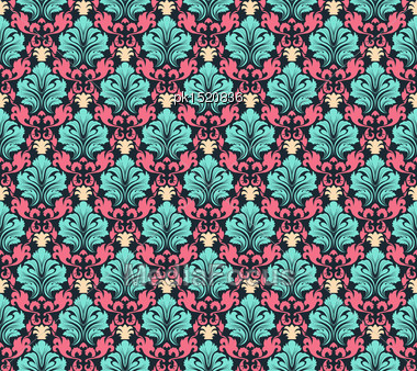 Colourfull Seamless Damask Ornate Pattern Stock Photo