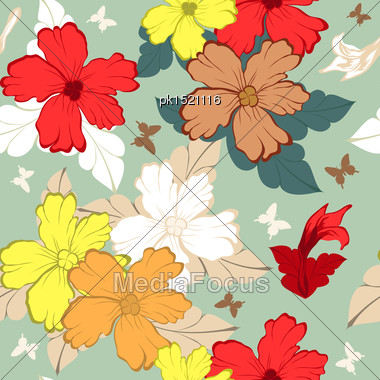 Colourfull Seamless Floral Ornate Pattern Stock Photo