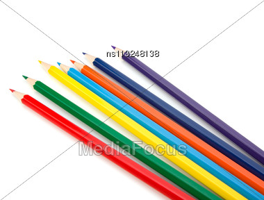Colouring Crayon Pencils Bunch Isolated On White Background Stock Photo