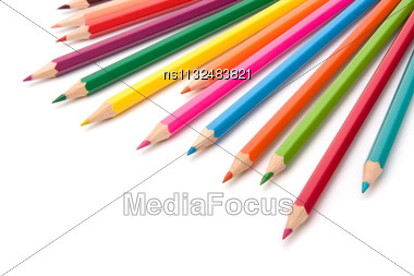 Colouring Crayon Pencils Isolated On White Background Stock Photo