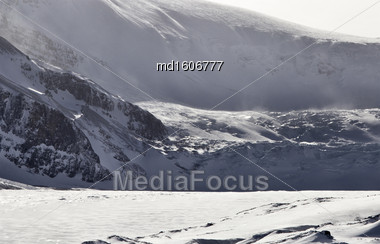 Columbia Icefields Alberta Rocky Mountains Winter Canada Stock Photo