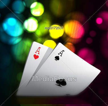 Combination Of Playing Cards For Casino. Two Aces On Bokeh Background. Vector Illustration Stock Photo
