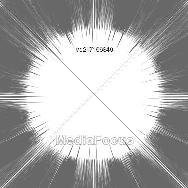 Comic Book Grey And White Radial Lines Background Rectangle Fight Stamp For Card Manga Or Anime Speed Graphic Texture Superhero Frame Explosion Illustration Sun Rays Or Star Burst Element Stock Photo