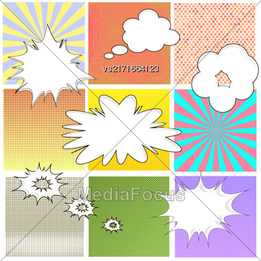 Comics Book Background. Colorful Halftone Patterns. Set Of Cartoon Speech Bubbles. Collection Dotted Background Stock Photo