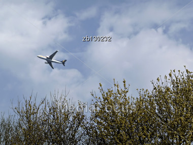Commercial Jet Airplane Over Yellow Blooming Tree Against Blue Sky With White Clouds. Stock Photo