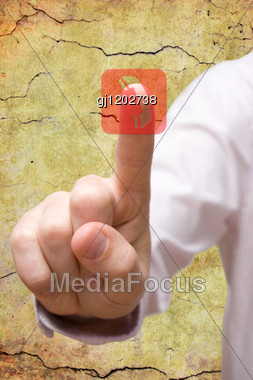 Communication Concept. Hand Pressing Telephone Symbol. Stock Photo