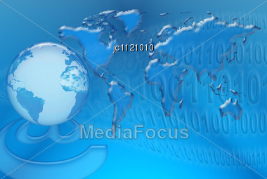 Communication And Internet Networks In The World Against The Background Of World Map And Digital System Stock Photo