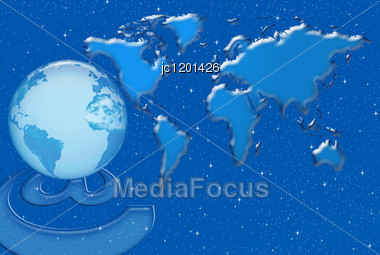 Communication And Internet Networks In The World Against The Background Of World Map Stock Photo