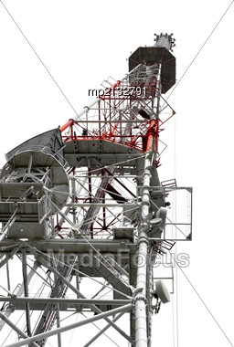 Communication Tower With Antennas On White Background Stock Photo