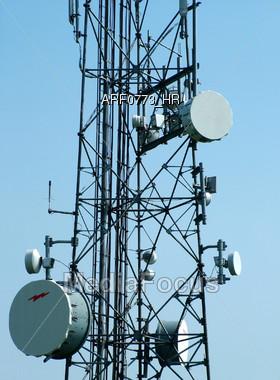 Communication Tower Closeup Stock Photo