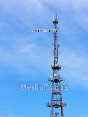 Communications Tower For Tv And Mobile Phone Signals Stock Photo