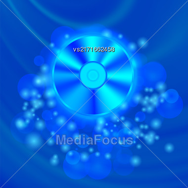 Compact Disc Isolated On Blue Wave Blurred Background Stock Photo