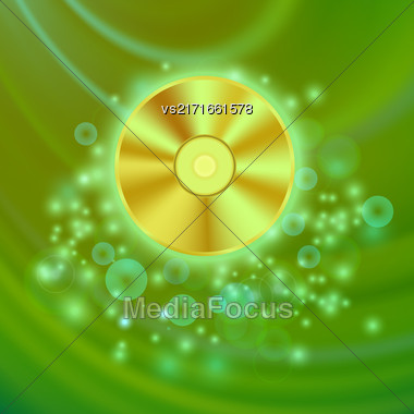 Compact Disc Isolated On Green Wave Blurred Background Stock Photo