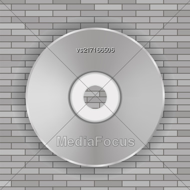 Compact Disc Icon On Gray Brick Background Stock Photo