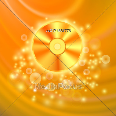 Compact Disc Isolated On Orange Wave Blurred Background Stock Photo