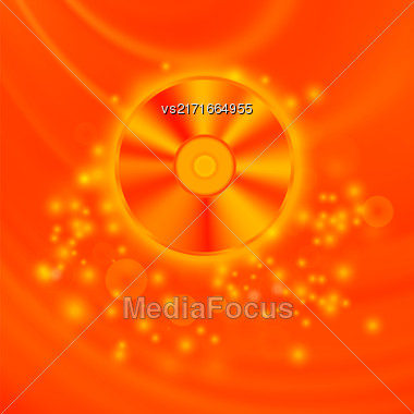 Compact Disc Isolated On Red Wave Blurred Background Stock Photo