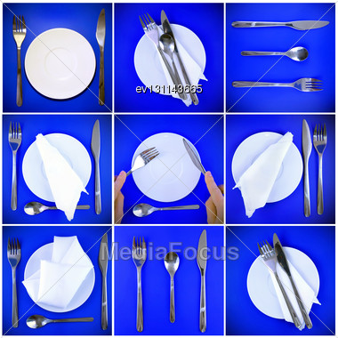 Composition Of Forks, Knifes, Spoons ,plates, On Blue Background Stock Photo