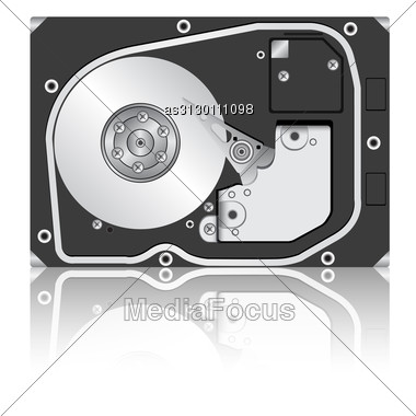 Computer Hard Disk Drive. Vector Illustration. Stock Photo