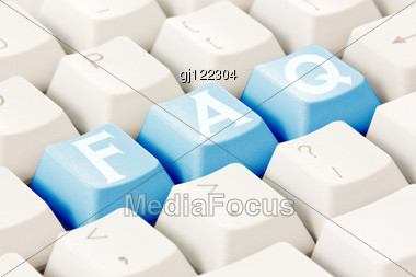 Computer Keyboard With A FAQ Text On The Keys Stock Photo