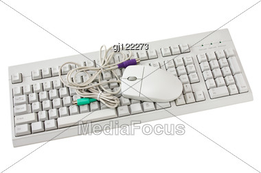 Computer Keyboard And The Mouse Stock Photo