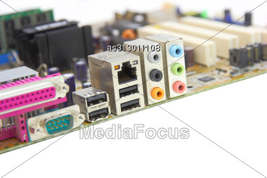 Computer Mainboard With Many Electronic Components Stock Photo