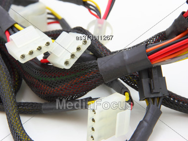 Computer Motherboard Power Lines. Color Cables Stock Photo
