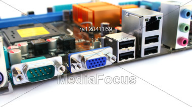 Computer Motherboard With Many Electronic Companents. Stock Photo