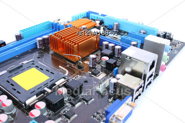 Computer Motherboard With Many Electronic Components. Stock Photo