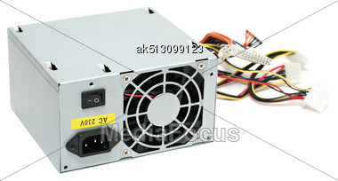 Computer Power Supply Isolated Stock Photo