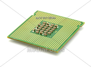 Computer The Processor On A White Background Is Isolated Gold Color With A Microcircuit Stock Photo