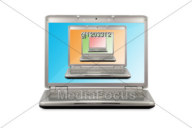Computer Technology Concept.laptops With Colored Monitors Stock Photo