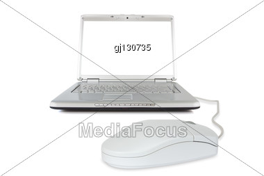 Computer Technology. Laptop With Mouse Stock Photo
