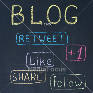 Concept Of Blog With Share Buttons, Chalk Drawing Stock Photo