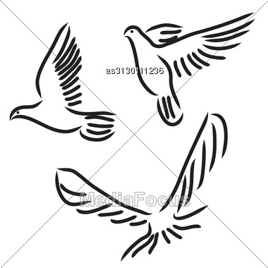 Concept Of Love Or Peace. Set Of White Vector Doves. Stock Photo