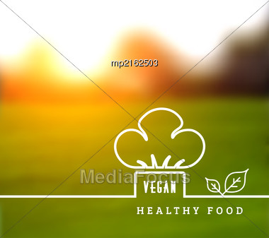 Concept Of Natural Vegetarian Health Food. Vector Illustration With Chef Hat And Leaves Stock Photo
