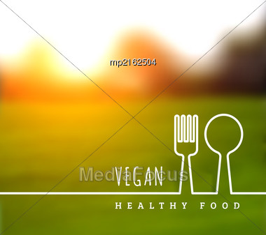 Concept Of Natural Vegetarian Health Food. Vector Illustration With Knife And Fork Stock Photo