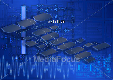 Concept Of Process Of Creation Of Electronic Devices Stock Photo