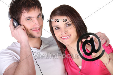 Concept Shot Downloading Music From The Internet Stock Photo