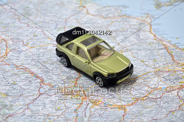 Concept Small Green Pickup Toy Car On Italy Map Stock Photo