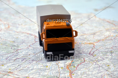 Concept Small White Toy Car On Italy Map Stock Photo